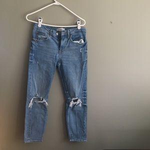 Zara Mom Jeans with Knee Rips
